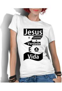 Camiseta Criativa Urbana Gospel Evangélica Religiosa Jesus - Feminino-Branco