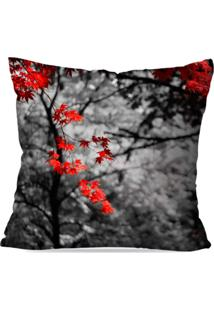 Capa De Almofada Avulsa Decorativa Folhas Vermelhas 35X35Cm