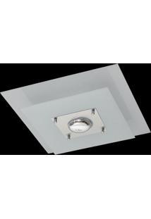 Plafon Saturno Aluminio E Vidro Pmq 130 Escovado Branco Bivolt