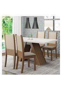 Conjunto Sala De Jantar Madesa Kiara Mesa Tampo De Madeira Com 4 Cadeiras Rustic/Branco/Crema/Bege Cor:Rustic/Branco/Crema/Bege