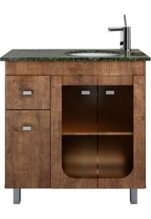 Gabinete De Banheiro Com Pés E Lavatório 800 Roma 76,2X35,5Cm Wengue Gaam
