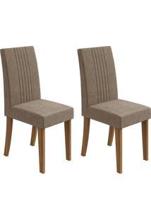 Conjunto De Cadeiras De Jantar 2 Rock Veludo Rovere E Marrom