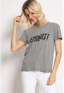 """Camiseta """"Feminist"""" - Cinza & Preta - Colccicolcci"""