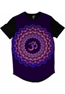 Camiseta Longline Long Beach Ohm Florida Mandala Sublimada Roxo