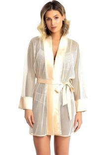 Robe Recco De Tule Acetinado Charmeuse Dourado - Kanui