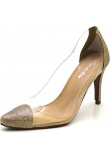 Sapato Scarpin Salto Alto Fino Glíter Dourado Com Transparência