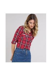 Camisa Feminina Estampada Xadrez Com Bolsos Manga Longa Vermelha