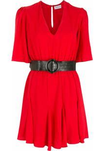 Olympiah Vestido Bicorne Com Cinto - Vermelho