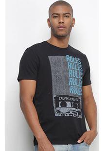 Camiseta Calvin Klein Rules Masculina - Masculino-Preto