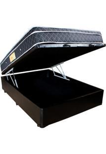 Cama Box Baú Viúva Preta + Colchão Molas Ensacadas 1,28 X 1,88