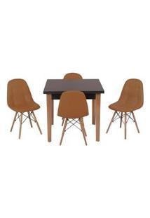 Conjunto Mesa De Jantar Luiza 80Cm Preta Com 4 Cadeiras Botonê - Marrom