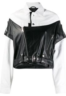 Manokhi Boxy Colour Block Jacket - Preto
