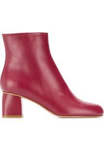 Red(V) Ankle Boot De Bico Redondo - Vermelho