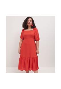 Vestido Crepe Liso Midi Com Marias Curve E Plus Size Laranja