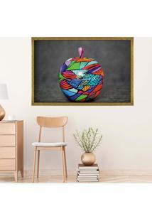 Quadro Love Decor Com Moldura Colored Apple Dourado - Médio