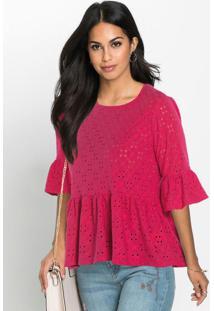 Blusa Em Malha De Laise Rosa Pink