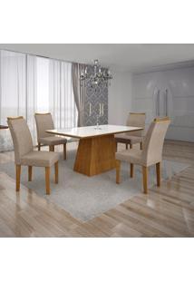 Conjunto Sala De Jantar Mesa Tampo Mdf/Vidro Branco E 4 Cadeiras Pampulha Leifer Imbuia Mel/Linho