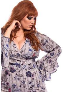 2907416d8 Blusa Vintage And Cats Transpassada Floral Xadrez Plus Size - Feminino-Azul