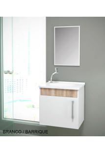 Gabinete Para Benheiro Kit Soft Susp. - Balcão + Espelheira + Marmorite - Branco Barrique