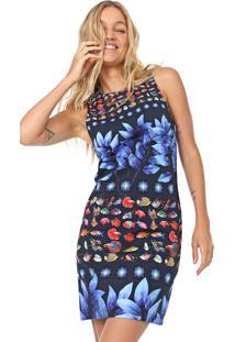 Vestido Desigual Curto Martina Azul-Marinho