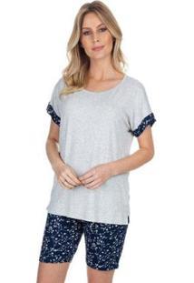 Pijama Com Bermuda Little Flowers Feminino - Feminino-Azul