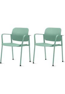 Kit 2 Cadeiras Leaf Com Bracos Verde - 57396 - Sun House