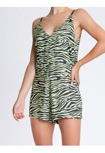 Macacao Sm Curto Visc Full Zebra - Amarelo Claro - 38