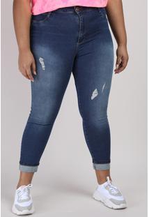 Calça Jeans Feminina Plus Size Sawary Super Skinny Cropped Cintura Alta Azul Escuro