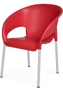 Cadeira Dublin Em Polipropileno Vermelho Com Pes Aluminio - 48003 - Sun House
