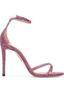Aquazzura Sandália Com Glitter - Rosa