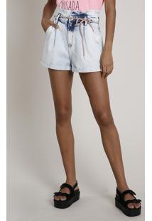 Short Jeans Feminino Clochard Com Cadarço Azul Claro