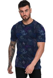 Camiseta Di Nuevo Coqueiros E Flores Azul Swag Azul