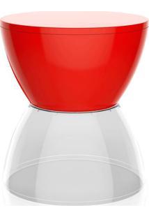 Banco | Banqueta Hydro Polipropileno Vermelho E Cristal I'M In
