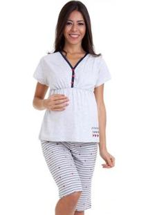 Pijama Luna Cuore Feminino Gestante Capri Manga Curta 6008 - Feminino-Cinza