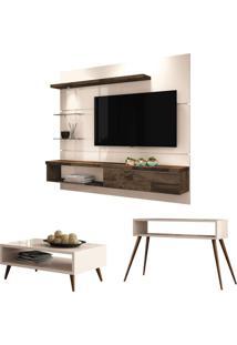 Painel Tv Ores Com Mesa De Centro Lucy E Aparador Quad Off White/Deck - Hb Mã³Veis - Off-White - Dafiti
