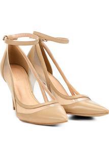 Scarpin Couro Shoestock Salto Alto Tela - Feminino-Nude