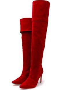 Bota Over Mr Shoes Salto Fino Cano Alto Nobucado Vermelho
