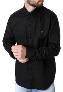 ... Camisa Manga Longa Masculina Preto 4b621e1e79f92
