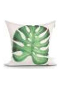 Capa De Almofada Costela De Adão Estampada Verde 45Cm X 45Cm Com Zíper