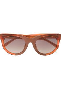 df15433b71e60 Farfetch. Óculos De Sol Kj Linda Farrow Feminino Marrom Redondo ...