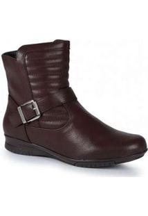 Ankle Boots Feminina Mooncity Cano Curto Marrom
