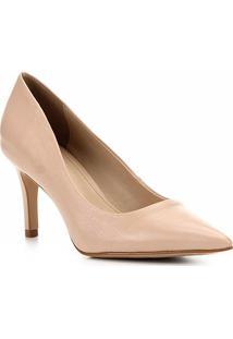 Scarpin Couro Shoestock Salto Médio Bico Fino - Feminino-Nude