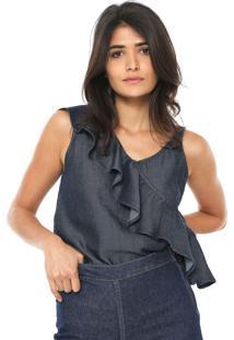 Regata Jeans Enna Assimetrica Azul