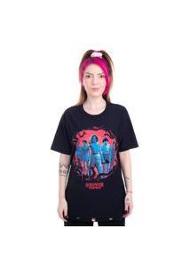 Camiseta Plus Size Dupla Face Stranger Things Personagens Preto