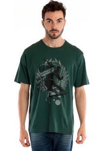 Camiseta Básica Manga Curta Musgo