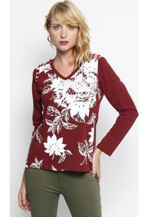 Blusa Floral Com Bordados- Bordã´ & Branca - ÊNfaseãŠNfase