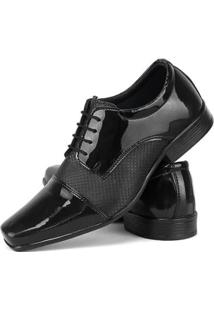 Sapato Social Oxford Sapatofran Sintético Verniz Masculino - Masculino-Preto