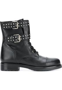 Albano Ankle Boot De Couro Com Fivela - Preto