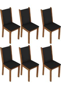 Kit 6 Cadeiras Rustic/Preto Madesa 4291