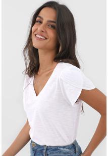Blusa Dzarm Gola V Branca - Branco - Feminino - Algodã£O - Dafiti